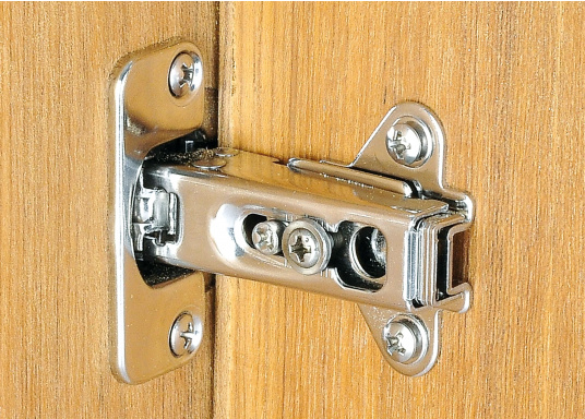 Stainless steel sprung concealed hinges. Suitable for doors, hatches, cabinets, etc. 