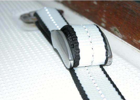 Mit dieser Sicherungsleine können Sie sich ungehindert an Bord bewegen und sind dennoch wirkungsvoll gesichert. Auch für Kinder gut geeignet.Die Lieferung besteht aus einem Gurtband und einer Befestigungsschnalle.  (Bild 3 von 4)