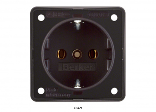 Sockets with screw terminals –more safety on board. The socket outlets have a depth of 32.7 mm and an outer dimension of 55.5 x 55.5 mm.