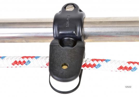 Leitblock für Relingsmontage. Geeignet für Rohr-Ø: 25 mm und Tauwerk: bis 10mm. Lieferungals Halbkardanik-Umlenkblock, 1-fach.  (Bild 6 von 7)