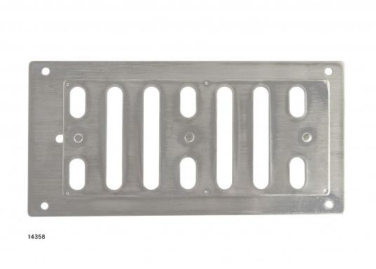 Regelbarer Lüftungsschieber aus Edelstahl. Abmessungen (B x H): 152 x 76 mm.Eine passende Gegenplatte ist separat erhältlich.  (Bild 2 von 2)