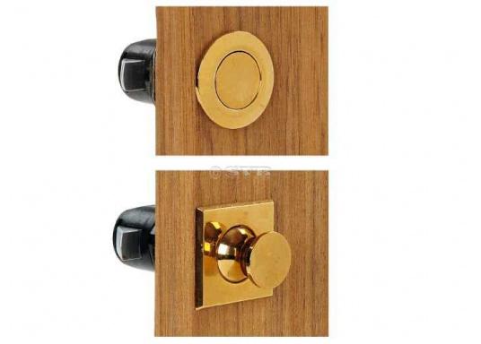 Druckschnapper in Chrom gefertigt, in eckiger Form. Bündiges Design. (Bild 5 von 5)