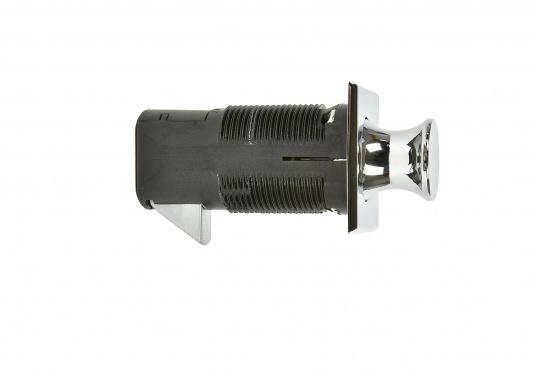 Druckschnapper in Chrom gefertigt, in eckiger Form. Bündiges Design. (Bild 2 von 5)