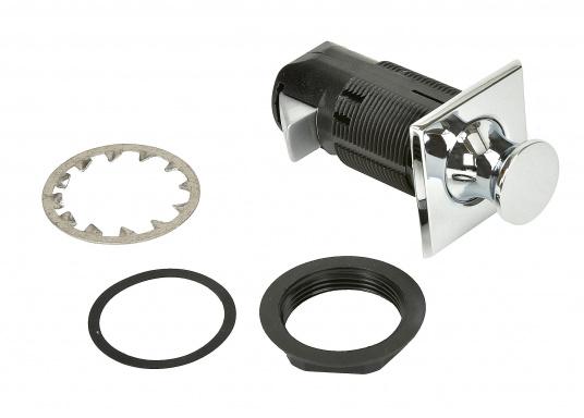 Druckschnapper in Chrom gefertigt, in eckiger Form. Bündiges Design. (Bild 3 von 5)
