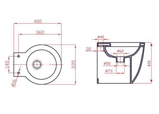 Luxus-Design einer Haustoilette  Kompaktes Maß wie ein Bord-WC  Leiser Betrieb und wassersparsam  Kombipumpe (Spülung / Zerhacker)    (Bild 8 von 8)