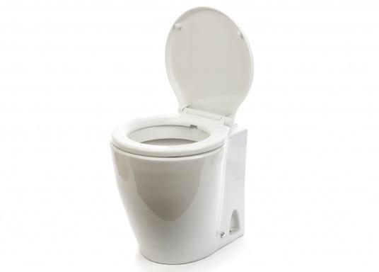 Luxus-Design einer Haustoilette  Kompaktes Maß wie ein Bord-WC  Leiser Betrieb und wassersparsam  Kombipumpe (Spülung / Zerhacker)