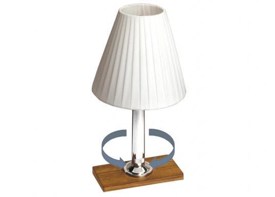 Robust und wasserdicht! Die Tischlampe HALLEY kann sowohl im Innen- als auch im Außenbereich verwendet werden. Sie lässt sich durch einfaches 90°-Drehen an- und ausschalten.  (Bild 2 von 4)