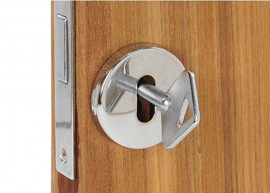 Türschlossrosette für Zimmertüren. Material: Messing, verchromt. (Bild 3 von 3)