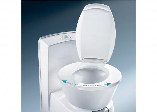 Komfort wie zu Hause! Die leichtgewichtigeKeramiktoilette bietet mehr Bewegungsfreiheit. Der Sitz lässt ichin beide Richtungenum bis zu 90° verstellen. Erhältlich mit oder ohne 7 Liter Tank. (Bild 3 von 6)