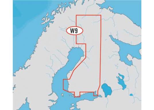 Fahrtgebiet Wide: WD9, Finland Lakes. Die Seekarte bietet automatische Routenberechnung, 3D- Ansicht und 3D-Überlagerung der nautischen Papierkarten für einen besseren Blick mit mehr Informationen.