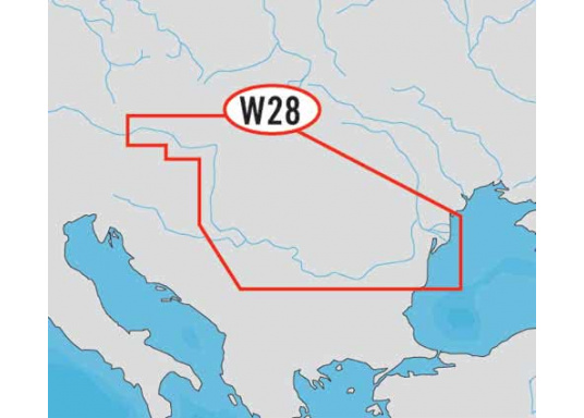 Wide: WD28, River Danube. The chart provides automatic route calculation, 3D display and 3D overlay of nautical paper charts for a better view with more information.