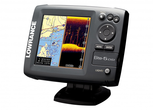 Der Elite-5 DSI mit eingebautem Kartenplotter bietet einen hohen technologischen Stand. Komfortabel, klar und präzise erkennen Sie auf dem brillianten 5&ldquo&#x3B; SolarMAX-Farbdisplay die Strukturen der Unterwasserwelt sowie die Vegetation.