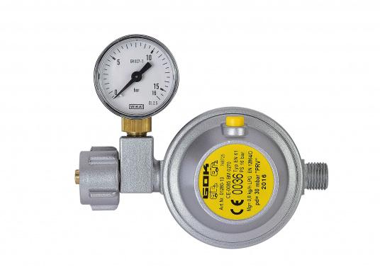 Gasdruckregler speziell für Caravans, zum Anschluss an Flüssiggasflaschen mit bis zu 14 kg Füllgewicht geeignet. Erhältlich mit Manometer.  (Bild 2 von 6)