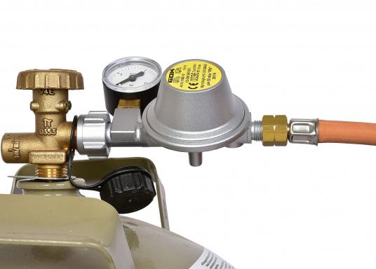 Gasdruckregler speziell für Caravans, zum Anschluss an Flüssiggasflaschen mit bis zu 14 kg Füllgewicht geeignet. Erhältlich mit Manometer.  (Bild 4 von 6)