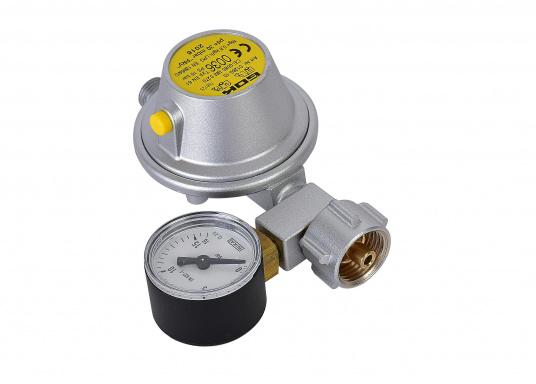 Gasdruckregler speziell für Caravans, zum Anschluss an Flüssiggasflaschen mit bis zu 14 kg Füllgewicht geeignet. Erhältlich mit Manometer.
