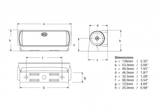 Der breitstrahlende, mit Präzisionsoptik ausgestattete LED Scheinwerfer eignet sich besonders für den Einsatz im Nahbereich, in Cockpits und auf Deck. Erbietet eine beachtliche Lichtstärke bei sehr geringer Leistungsaufnahme. (Bild 7 von 8)