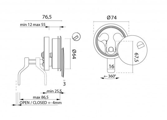 Anneau à rotation avec couvercle. Inox. Diamètre : 7,5 mm (Image 5 de 5)