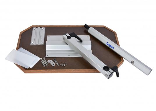 Eine praktische Lösung! Diese Konstruktion bietet variable Möglichkeiten: Der Tisch lässt sich heben und senken und ist dreh- und schwenkbar. Er ist platzsparend und leicht zu montieren. Erhältlich in verschiedenen Ausführungen.  (Bild 6 von 7)