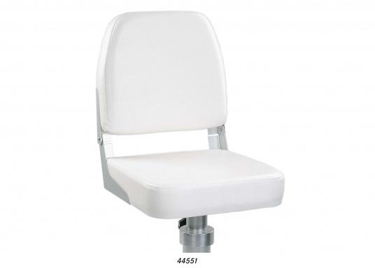 Der Steuermannsitz mit edlem Lederimitat-Überzug in Weiß ist mit einer klappbarer Rückenlehne ausgestattet. Abmessungen: 41 x 36 x 48 cm. Wir empfehlen Ihnen den stabilen Stuhlfuß aus Aluminium zu diesem Sitz.