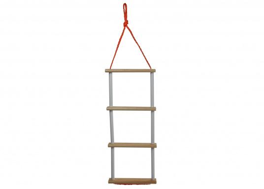 Pratique, légère et particulièrement stable! Cette échelle à corde avec marches en bois peut également être rangée dans un petit espace. Disponible en deux versions: avec 3 ou 4 marches.  (Image 2 de 6)