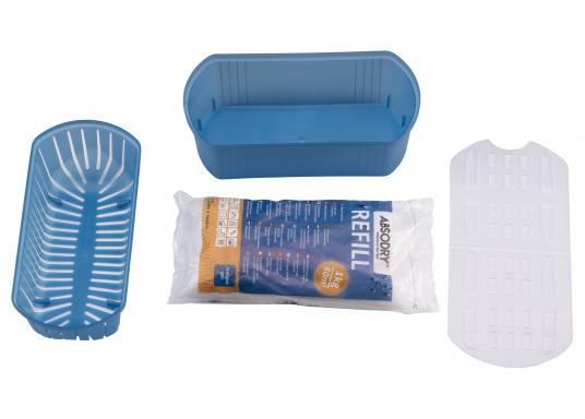 Zuverlässiger Luftentfeuchter! ABSODRY absorbiert bis zu einem Optimum von 50% die überschüssige Luftfeuchtigkeit und wird erst bei Erhöhung der Luftfeuchtigkeit wieder automatisch in Gang gesetzt.  (Bild 2 von 4)