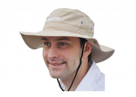 The perfect hat for sunny days on board! Not only does this hat offer a perfect fit, the sides can be folded upward, and it also protects your neck from the sun's rays.