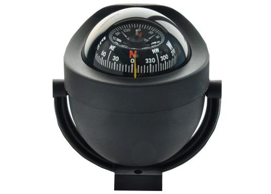 This modern marine compass in stylish design is suitable for motor and sailing boats. It has a conical rose. The compass is illuminated (12/24 V). Supplied complete with mounting bracket.