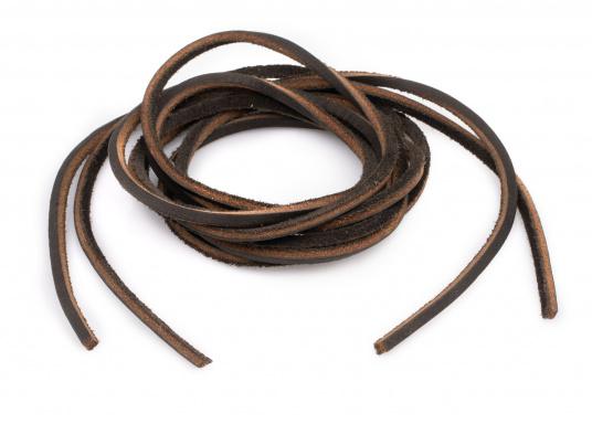 Diese Schnürsenkel bzw. Schuhbänder sind aus hochwertigem Leder gefertigt. Sie sind in den Farben Braun, Weiß und Blau erhältlich. Lieferung paarweise. (Bild 4 von 5)