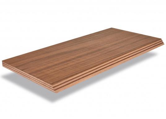 Feinste Teak-Sperrholzplatten in der Qualität A/B, für den Innen- und Außenbereich geeignet. Ideal als Tischplatten, Arbeitsflächen und Anfertigung von Teakdecks. Wir bieten dieses 2,5 mm starke Material it den Plattenabmessungen 250 x 122 cm an.