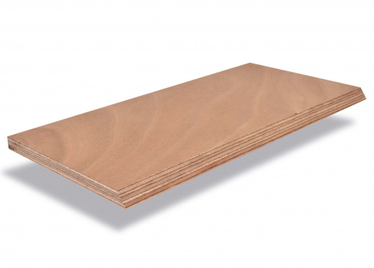 High quality plywood sheet for the constructive refinishing of the interior, ideal for example for flooring, chests, walls, berth beds or similar. The sheets are AW 100 glued and is made out of Okumé. Outer layer 1mm veneer. Sheet dimensions: 250 x 122 cm.