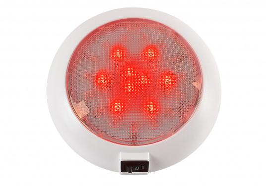 LED Aufbauleuchte mit weißen und roten LEDs. Die LEDs können separat geschaltet werden. Gehäuse: Kunststoff weiß.  (Bild 2 von 6)