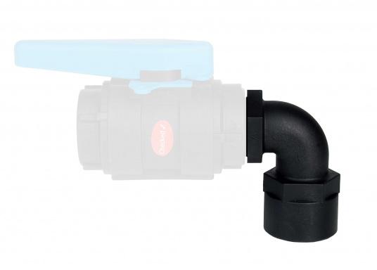90°-Winkelverschraubung mit Innen- und Außengwinde aus hochwertigem Verbundwerkstoff.Der glasverstärke Nylonverbundstoff bietet hohe Festigkeit, Zähigkeit und Dimensionsstabilität.  (Bild 4 von 4)