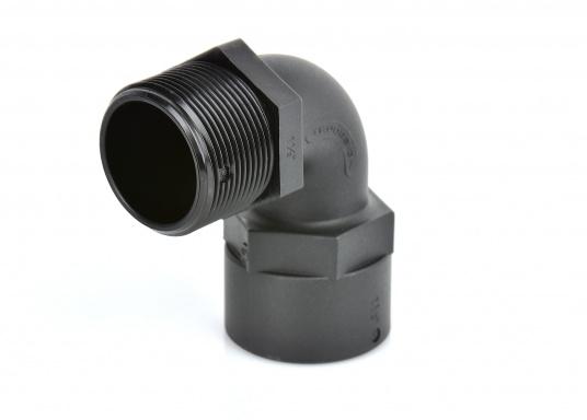 90°-Winkelverschraubung mit Innen- und Außengwinde aus hochwertigem Verbundwerkstoff.Der glasverstärke Nylonverbundstoff bietet hohe Festigkeit, Zähigkeit und Dimensionsstabilität.  (Bild 2 von 4)