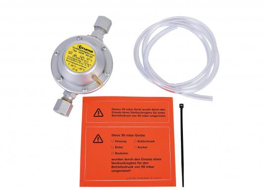Dieser Vordruckregler ermöglicht die Nutzung von neuen Geräten mit 30 mbar an alten Systemen mit 50 mbar. Der Regler wird in die Gasleitung direkt vor dem Gasverbrauchsgerät eingebaut und reduziert den Betriebsdruck von 50 mbar auf 30 mbar.  (Bild 4 von 4)