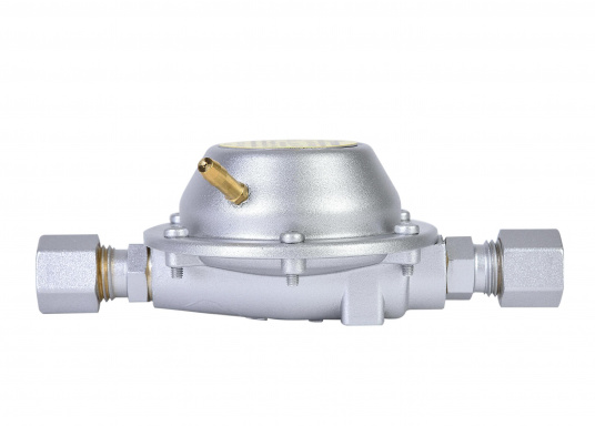Dieser Vordruckregler ermöglicht die Nutzung von neuen Geräten mit 30 mbar an alten Systemen mit 50 mbar. Der Regler wird in die Gasleitung direkt vor dem Gasverbrauchsgerät eingebaut und reduziert den Betriebsdruck von 50 mbar auf 30 mbar.  (Bild 2 von 4)