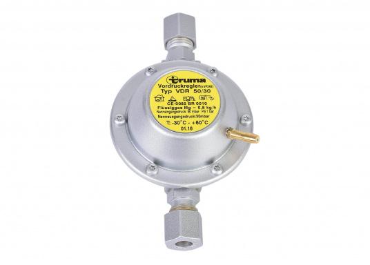 Dieser Vordruckregler ermöglicht die Nutzung von neuen Geräten mit 30 mbar an alten Systemen mit 50 mbar. Der Regler wird in die Gasleitung direkt vor dem Gasverbrauchsgerät eingebaut und reduziert den Betriebsdruck von 50 mbar auf 30 mbar.