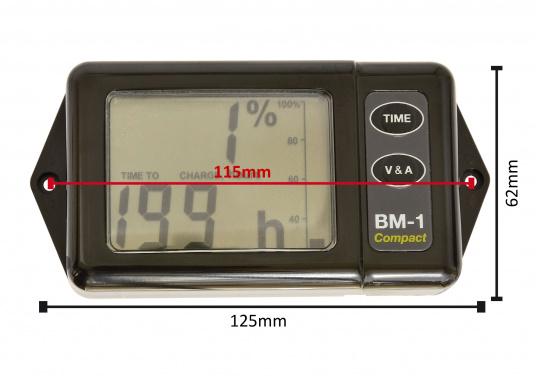 Der besonders kompakte BM-1 Compact wurde konstruiert für 12 Volt Batterie-Systeme mit einer Kapazität von bis zu 600 Amperestunden. Er wird komplett mit einem 100 Ampere Shunt und einem vorgefertigten Kabel geliefert.  (Bild 2 von 5)