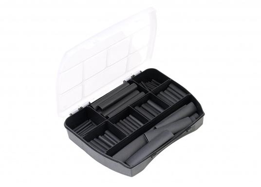 Schrumpfschläuche erzeugen spritzwasser- und flammgeschützte Verbindungen und zusätzlichen Scheuer- und Knickschutz.Erhältlich in zwei unterschiedlichen Sortiments-Boxen.