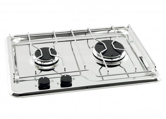 Flush-mount gas stove in polished stainless steel, equipped with two high-quality burners and ignition safeguard for each burner. Supply pressure: 30 mbar.&nbsp&#x3B;A matching pot holder is sold separately.