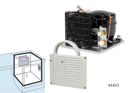 DieColdMachine Serie 50 Sets mit luftgekühlten Kompressor Danfoss BD 35F und einem Verdampfer in passender Bauform sind ideal geeignet, wenn Sie eine Kühlbox mit kleinerem Rauminhalt ausrüsten wollen und in kühlen Gewässern fahren. (Bild 5 von 12)