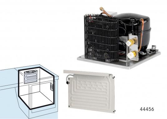 DieColdMachine Serie 50 Sets mit luftgekühlten Kompressor Danfoss BD 35F und einem Verdampfer in passender Bauform sind ideal geeignet, wenn Sie eine Kühlbox mit kleinerem Rauminhalt ausrüsten wollen und in kühlen Gewässern fahren. (Bild 3 von 12)