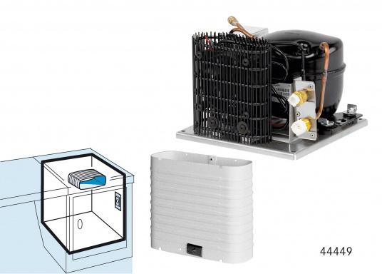 DieColdMachine Serie 50 Sets mit luftgekühlten Kompressor Danfoss BD 35F und einem Verdampfer in passender Bauform sind ideal geeignet, wenn Sie eine Kühlbox mit kleinerem Rauminhalt ausrüsten wollen und in kühlen Gewässern fahren. (Bild 7 von 12)