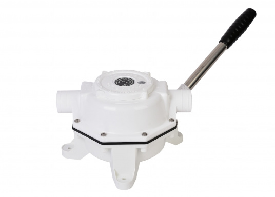 Efficient and versatile bilge and water transfer pump. Particularly suitable for draining waste water and empty waste tanks. Bulkhead mounting. Performance: 1 liter per stroke.