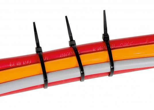 Universell einsetzbare Kabelbinder, lieferbar in verschiedenen Größen. Farbe: schwarz. Inhalt: 100 Stück.  (Bild 2 von 2)