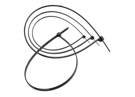 Universell einsetzbare Kabelbinder, lieferbar in verschiedenen Größen. Farbe: schwarz. Inhalt: 100 Stück.