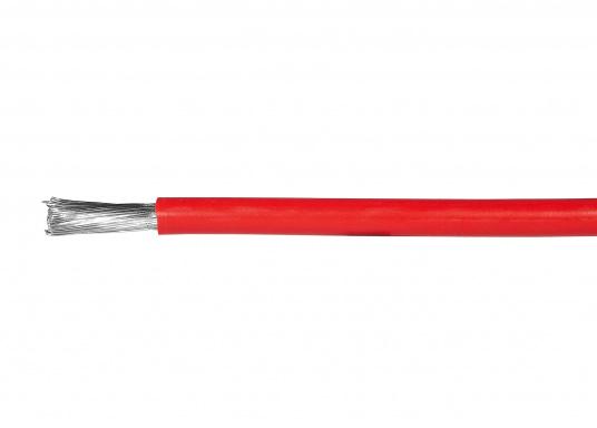 Temperaturbeständige und halogenfreie Einzeladern, CU-Litze verzinnt. Zulassung: Germanischer Lloyd. Temperaturbereich, bewegt:-35°C bis +120°C, fest verlegt: -55°C bis +145°C.Erhältlich in Schwarz und Rot.  (Bild 2 von 3)