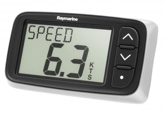 Das Raymarine i40 Log bietet die Anzeige von aktueller, Höchst- und Durchschnittsgeschwindigkeit, Gesamt- und Tagesdistanz, sowie Wassertemperatur.  (Bild 2 von 3)