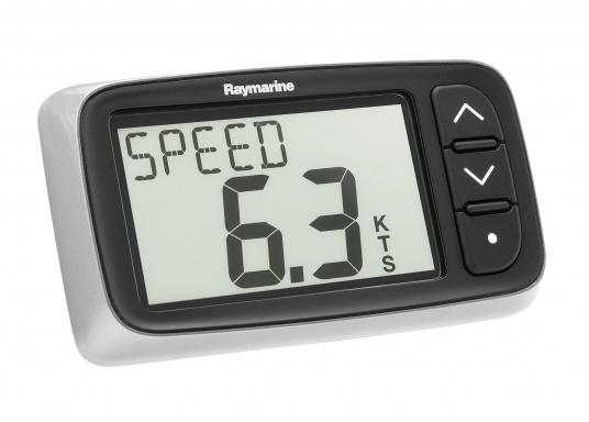 Das Raymarine i40 Log bietet die Anzeige von aktueller, Höchst- und Durchschnittsgeschwindigkeit, Gesamt- und Tagesdistanz, sowie Wassertemperatur.  (Bild 3 von 3)