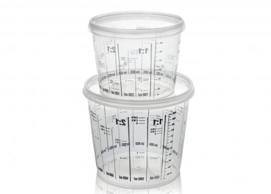 Hier bieten wir Ihnen Mischbecher in den Größen 750 ml und 1400 ml, jeweils mit Deckel für einen luftdichten Abschluss.