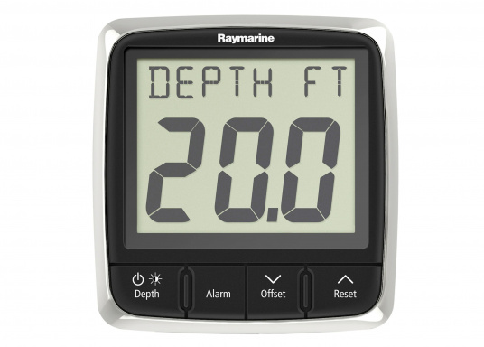 Technically advanced Raymarine i50 depth system with reliable indication, even at high speeds.    minimum / maximum depth  audio alarm for flat / deep water and anchor  trend indicator   (Image 2 of 4)
